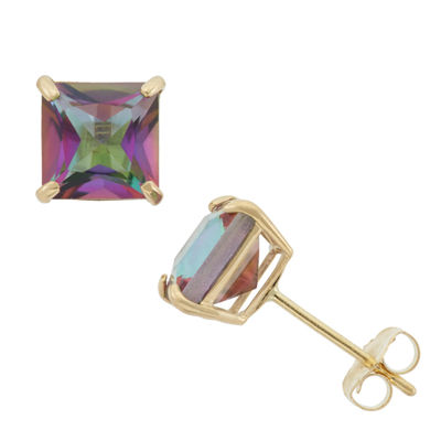 Genuine Mystic Fire Topaz 10K Gold 6mm Stud Earrings