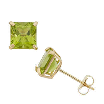 Genuine Green Peridot 10K Gold 6mm Stud Earrings