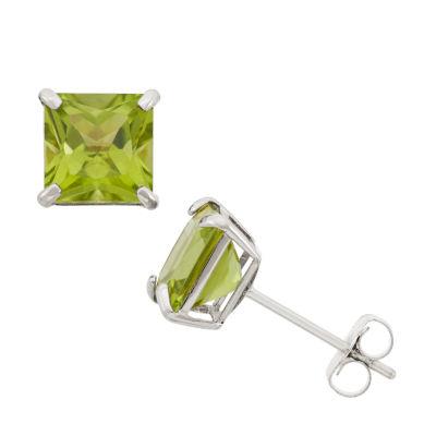 Princess Green Peridot 10K Gold Stud Earrings
