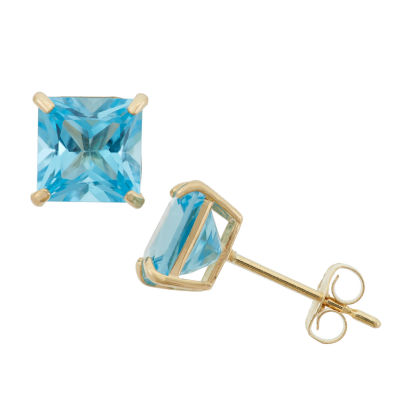 Princess Blue Blue Topaz 10K Gold Stud Earrings