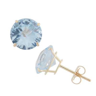 Lab Created Blue Aquamarine 10K Gold 8mm Stud Earrings