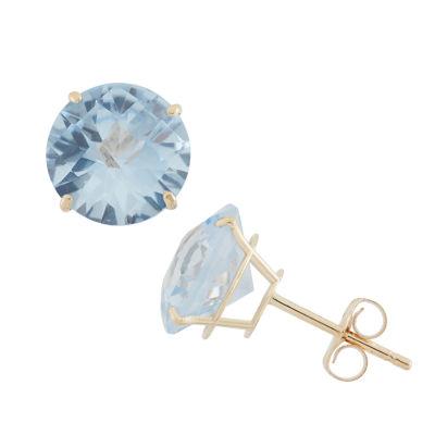 Round Blue Aquamarine 10K Gold Stud Earrings