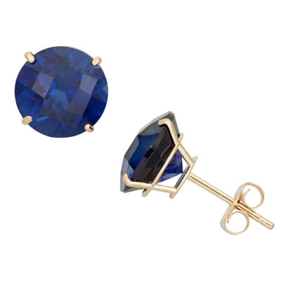 Lab Created Blue Sapphire 10K Gold 8mm Stud Earrings