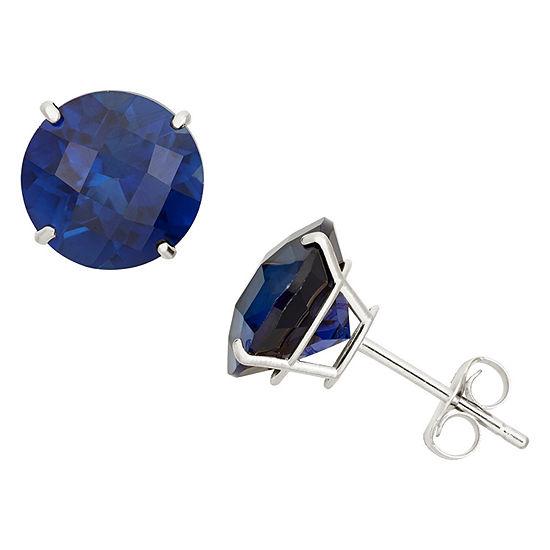 Lab Created Blue Sapphire 10K Gold 8mm Stud Earrings
