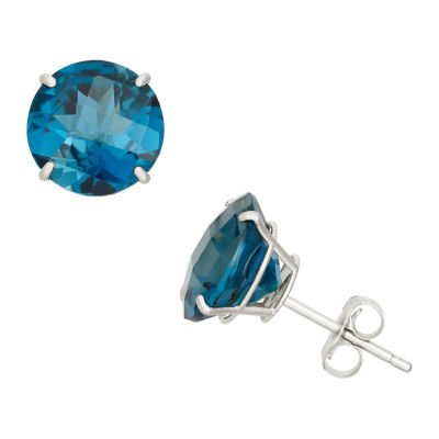 Genuine Blue Blue Topaz 10K Gold 8mm Stud Earrings