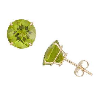 Genuine Green Peridot 10K Gold 8mm Stud Earrings
