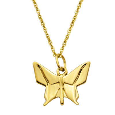 Womens 14K Gold Butterfly Pendant Necklace
