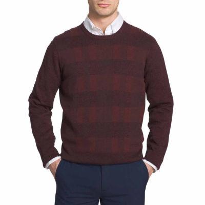 Van Heusen Plaid Novelty Crewneck Sweater Crew Neck Long Sleeve Pullover Sweater