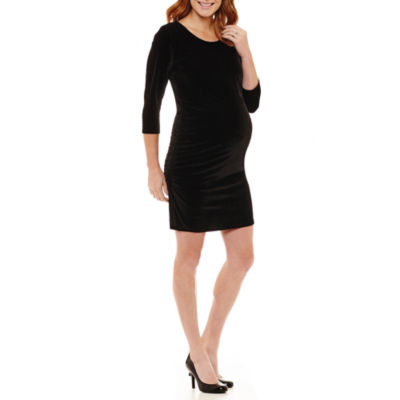 Planet Motherhood 3/4 Sleeve Fitted Velvet Dress - Maternity