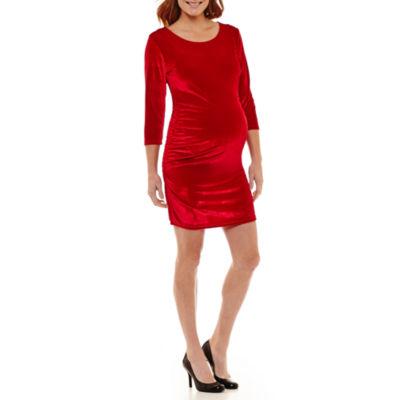 Planet Motherhood 3/4 Sleeve Fitted Velvet Dress-Maternity