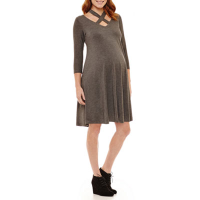 Planet Motherhood 3/4 Sleeve A-Line Dress - Maternity
