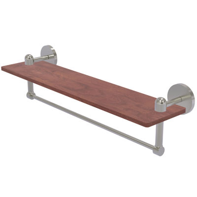 Allied Brass Tango Collection 22 IN Solid Ipe Ironwood Shelf With Integrated Towel Bar