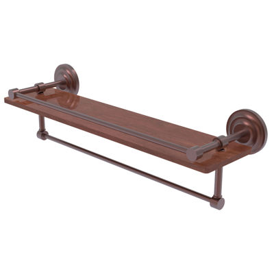 Allied Brass Que New Collection 22 IN Ipe IronwoodShelf With Gallery Rail And Towel Bar