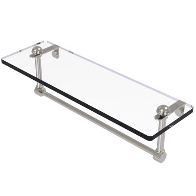 Allied Brass 16 IN Glass Vanity Shelf With Integrated Towel Bar