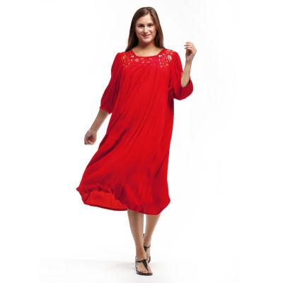 La Cera 3/4 Sleeve Rayon Dress With Embroidered Sleeve & Yoke