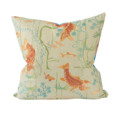 Asian Koi Pond Woven Throw Pillow