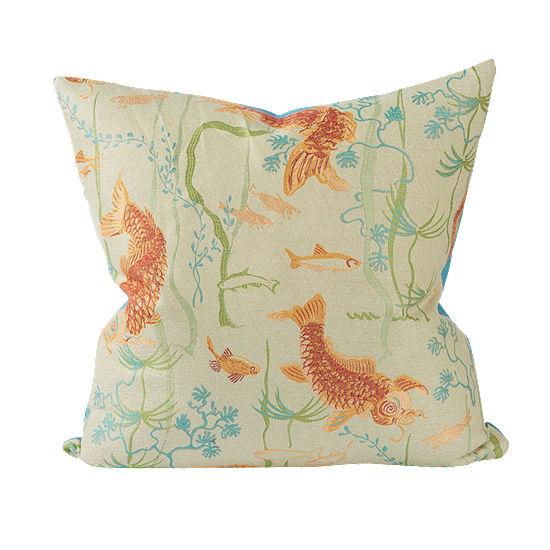 Asian Koi Pond Woven Throw Pillow