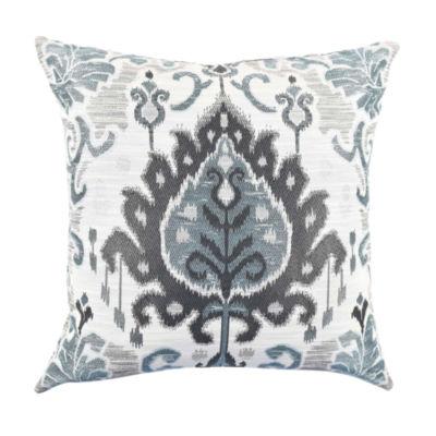 Blue-Gray Ikat Designer Throw Pillow