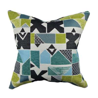 Bold Geometric Shape Jacquard Throw Pillow