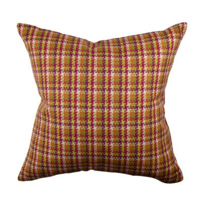 Bold Multicolor Plaid Jacquard Throw Pillow