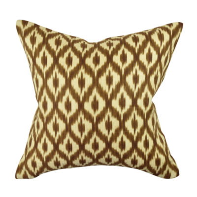 Brown Grid and Dot Jacquard Throw Pillow