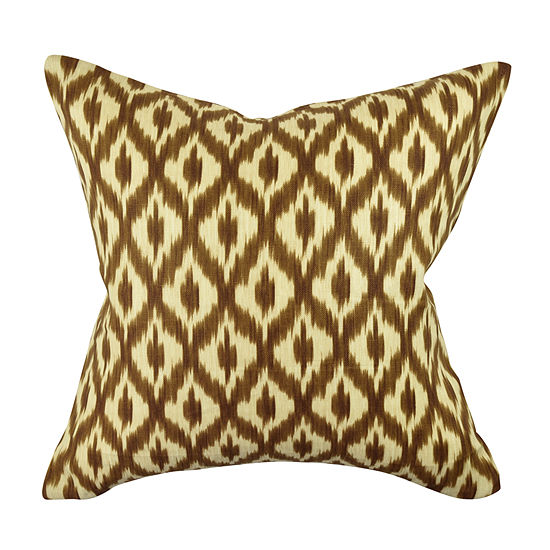Brown Grid and Dot Jacquard Throw Pillow