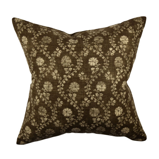 Brown Winding Stem Floral Throw Pillow