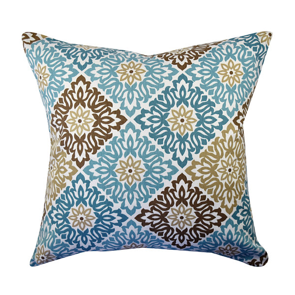 Classical Blue and Brown Floral Throw Pillow