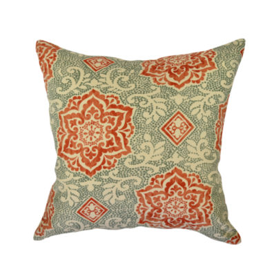 Coral and Turquoise Floral Throw Pillow