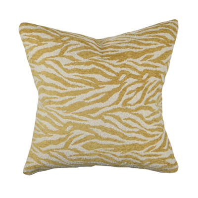 Cream and Gold Zebra Print Throw Pillow