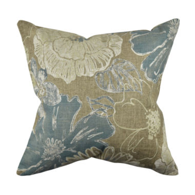 Distressed Tan Floral Linen Throw Pillow