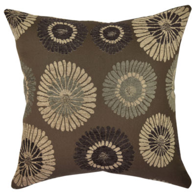 Muted Blue Throw Pillows : Earth Tone Blooms Designer Throw Pillow - JCPenney