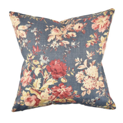 Elegant Blue and Pink Floral Throw Pillow