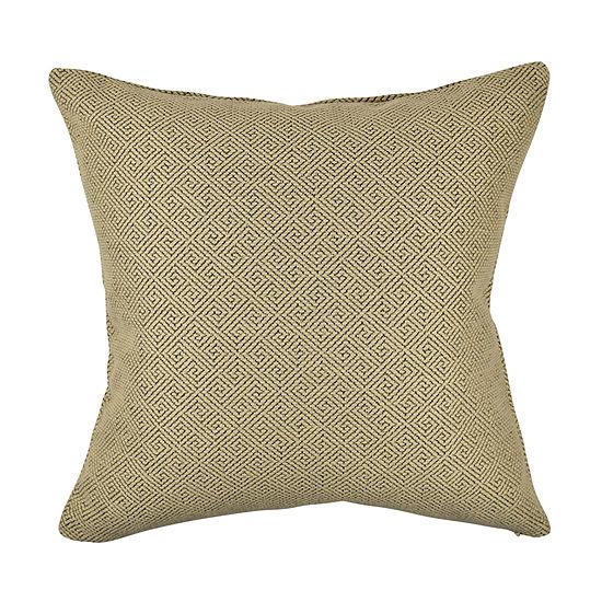 Fret Pattern Earth Tone Jacquard Pillow