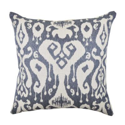 Gray Blue Ikat Inspired Woven Throw Pillow