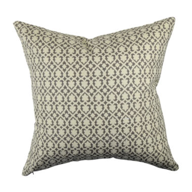Gray Mid-Century Geometric Throw Pillow