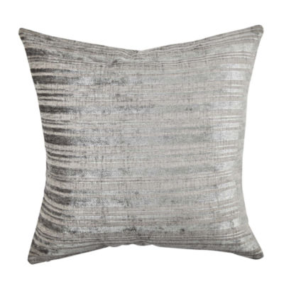 Gray Silver Stripe Designer Throw Pillow