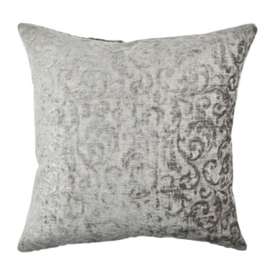 Gray Velvet Damask Throw Pillow