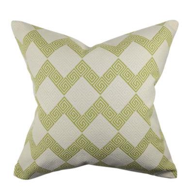 Green Fretwork Chevron Throw Pillow