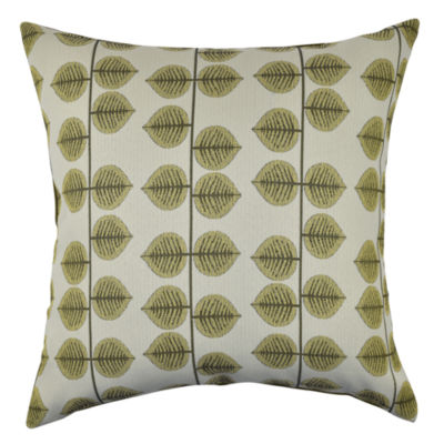 Green Leaf Stripes Throw Pillow