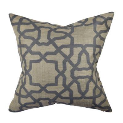 Grey and Tan Circle Link Woven Throw Pillow