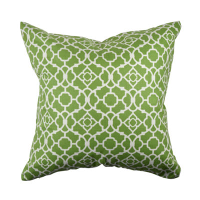 Lovely Green Quatrefoil Throw Pillow