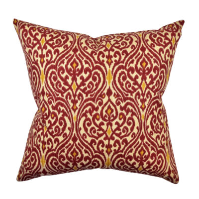 Jcpenney Red Decorative Pillows : Modern Red Damask Designer Throw Pillow - JCPenney