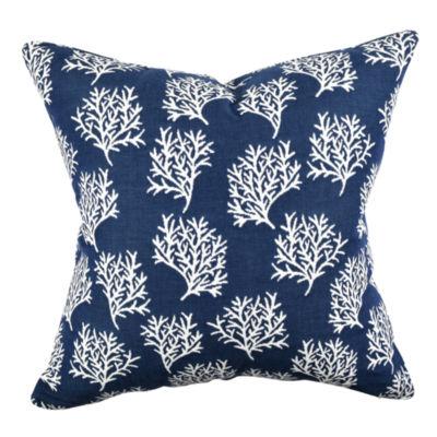 Navy Coral Reef Designer Throw Pillow
