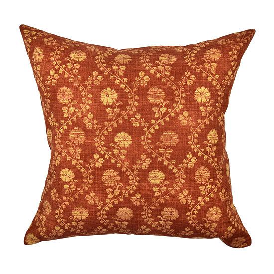 Orange Winding Stem Floral Throw Pillow