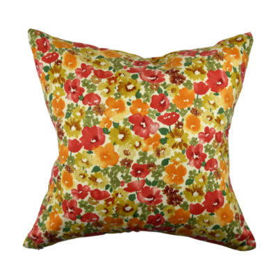 Painted Multicolor Blooms Throw Pillow