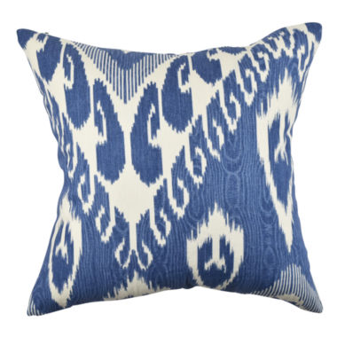 Pastel Blue Ikat Inspired Throw Pillow