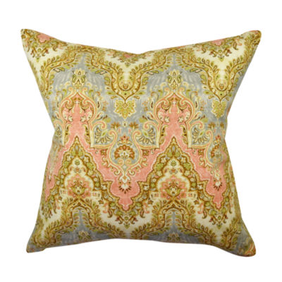 Pastel Multicolor Damask Throw Pillow