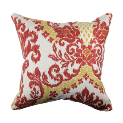 Jcpenney Red Decorative Pillows : Red and Gold Damask Linen Throw Pillow - JCPenney