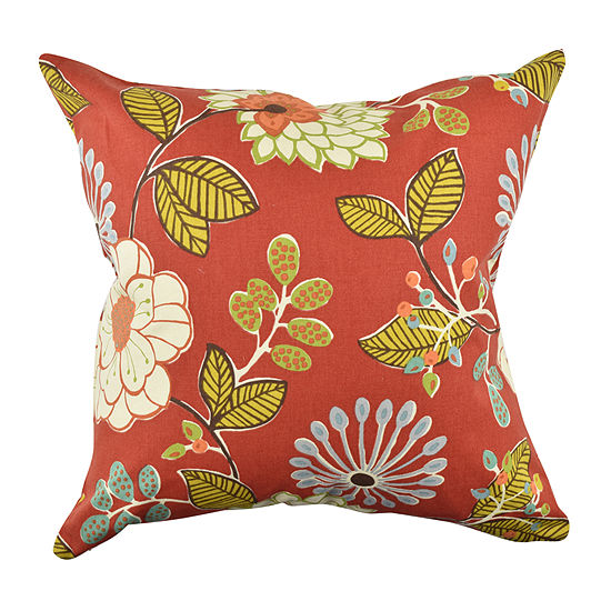 Red Artistic Floral Designer Throw Pillow